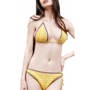 Women's Contrast Trim Halter Knitted String Bikinis