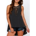 Round Neck Sleeveless Chic Cut Out Plain High Low Hem Pullover T-Shirt