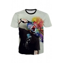 Summer's Hollow Out Fishnet Cartoon Pattern Round Neck Short Sleeve Graphic Tee
