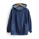 New Arrival Long Sleeve Plain Leisure Denim Hoodie with Zip Pockets