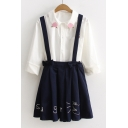 Letter Cartoon Embroidered Bow Waist A-Line Mini Pleated Overall Skirt