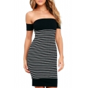 Sexy Off the Shoulder Short Sleeve Striped Color Block Mini Bodycon Dress