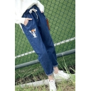 Fashion Embroidery Cartoon Dog Pattern Drawstring High Waist Roll Up Jeans