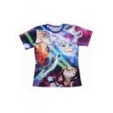 Hot Fashion Lightning Cat Printed Round Neck Short Sleeve Loose T-Shirt