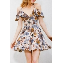 Fashion Women's Cold Shoulder V-Neck Short Sleeve Floral Printed Mini Cami Dress