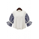Round Neck Color Block Striped Sleeve Chic Pullover Blouse