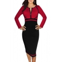 New Arrival Zip Fly Front Long Sleeve Color Block Midi Pencil Dress