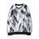 Vintage Feather Printed Color Block Round Neck Pullover Sweatshirt