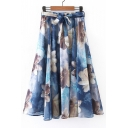 Bow Waist Ink Floral Printed Chiffon A-Line Midi Skirt