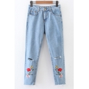 Women's Fashion Cutout Embroidery Floral High Waist Jeans