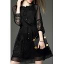 Sheer 3/4 Length Sleeve Round Neck Plain Mini A-Line Dress