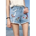 Basic High Rise Fresh Floral Embroidered Fringe Hem Denim Shorts