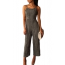 Women's Spaghetti Straps Sleeveless Tied Back Plain Jumpsuits