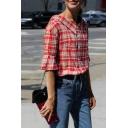 Fashion Lapel Single Breasted Ruffle Half Sleeve Plaid Shirt