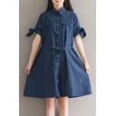 New Fashion Single Breasted Lapel Short Sleeve Plain Mini Denim Shirt Dress