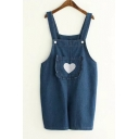 Fashion Straps Sleeveless Embroidery Heart Pattern Pocket Plain Denim Overalls