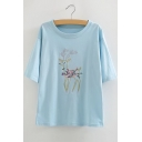 Lovely Embroidery Deer Pattern Short Sleeve Round Neck Tee