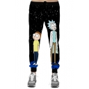 Cartoon Printed Drawstring Waist Loose Leisure Sports Pants