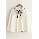 Cute Embroidery Cat Pattern Lapel Single Breasted Button Down Shirt
