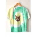 Tie Dye Cartoon Lovely Cat Printed Round Neck Short Sleeve Pullover T-Shirt