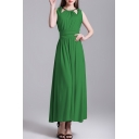 Leisure Hollow Out Halter Sleeveless Ruched Waist Plain Maxi Beach Dress