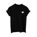 New Stylish Broken Heart Printed Round Neck Short Sleeve Leisure Graphic Tee