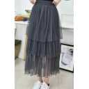 Women's Favor Multi-Layered Ruffle Elastic Waist Plain Mesh Maxi Skirt