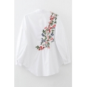 New Arrival Embroidery Floral Back Long Sleeve Lapel Single Breasted Shirt