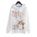 Cartoon Lovely Cat Printed Long Sleeve Loose Leisure Casual Hoodie