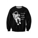 Unisex Astronaut Cartoon Graphic Printed Long Sleeve Round Neck Pullover Sweatshirt