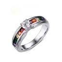 Unisex Fashion Colorful Crystal Insert Titanium Steel Ring