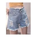 Fashion Summer High Waist Fringe Hem Ripped Plain Denim Shorts