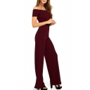 Elegant Off the Shoulder Short Sleeve Plain Jumpsuits