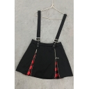 New Fashion Double Zips Fly Street Style Mini A-Line Overall Skirt