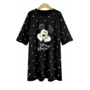Cartoon Mickey Mouse Printed Round Neck Short Sleeve Mini T-Shirt Dress