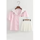 Fresh Folded Collar Short Sleeve Buttons Down Shirt with Mini A-Line Pleated Skirt