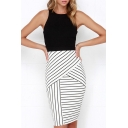 Color Block Striped Printed Round Neck Sleeveless Midi Pencil Dress