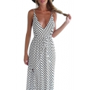 Hot Fashion Striped Pattern Open Back Maxi Beach Slip Dress