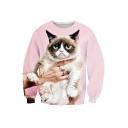 Hot Fashion Cat Printed Long Sleeve Round Neck Pullover Sweatshirt