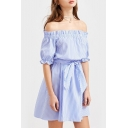 Fashion Striped Off the Shoulder Half Sleeve Belt Waist Mini A-Line Dress