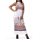 New Arrival Round Neck Sleeveless Tribal Printed Maxi Shift Dress