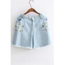 Summer Embroidery Pattern Fringe Hem Elastic High Waist Button Closure Denim Shorts