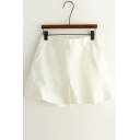 Simple Elastic Waist Plain Wide Leg Shorts with Two Pockets