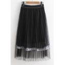 Letter Ribbon Patchwork Elastic Waist Maxi Mesh A-Line Skirt
