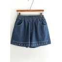 New Arrival Embroidery Rule Pattern Elastic Waist Plain Basic Denim Shorts