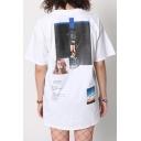 Retro Street Style Character Pattern Short Sleeve Round Neck Unisex Loose T-Shirt