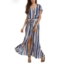 Women's Striped Color Block V-Neck Wrap Front Split Front Belt Waist Asymmetric Dress