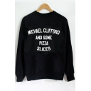 Simple Letter Printed Round Neck Long Sleeve Casual Loose Pullover Sweatshirt