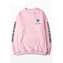 Retro Letter Printed Round Neck Long Sleeve Pullover Loose Unisex Sweatshirt