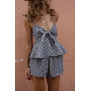 New Arrival Classic Plaids Printed Knotted Front Cami Top with Loose Shorts